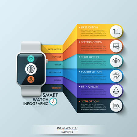 smart: Smart Watch Infographic Design Template. Can be used for workflow layout, diagram, number options, step up options, web design, banner template, infographic.
