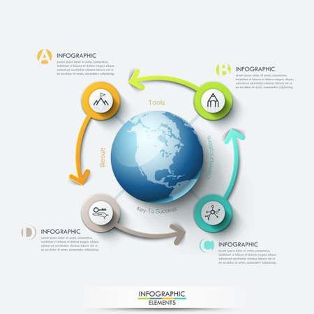 red informatica: red informática de negocios. Negocio plantilla global con flechas. Puede ser utilizado para el diseño de flujo de trabajo, bandera, diagrama, diseño web, plantilla de infografía. Vectores