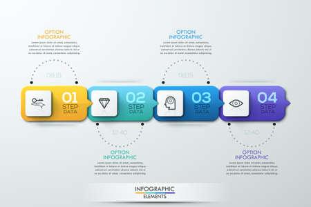 ビジネス タイムライン インフォ グラフィック テンプレート。ワークフローのレイアウト、バナー、図、番号のオプション、web デザインに使用でき