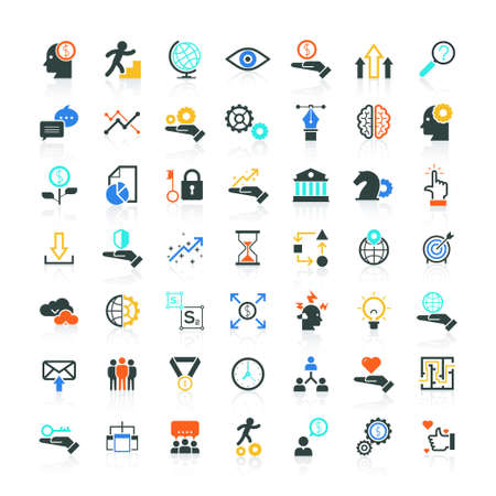 icons business: Set of SEO and Development icons in stylish colors. Modern flat icons vector collection of web design objects, business, office and marketing items. Isolated on white background. White icons on dark background
