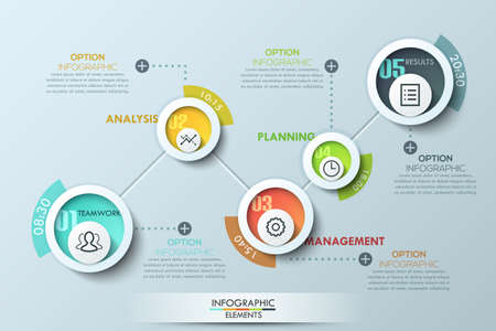 step up: Modern business circle origami style options banner. Vector. can be used for workflow layout, diagram, number options, step up options, web design, infographics, timeline. Illustration