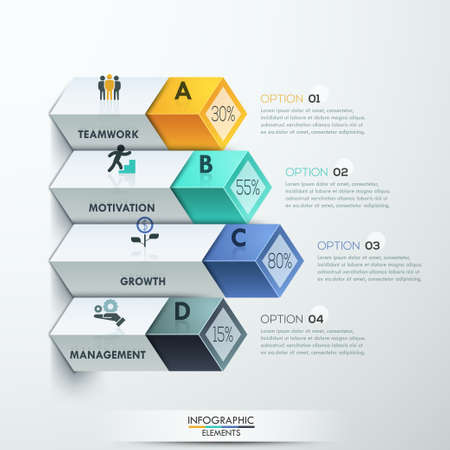 step up: Abstract 3d diagram infographics options. Vector illustration. can be used for workflow layout, banner, number options, step up options, web design. Illustration