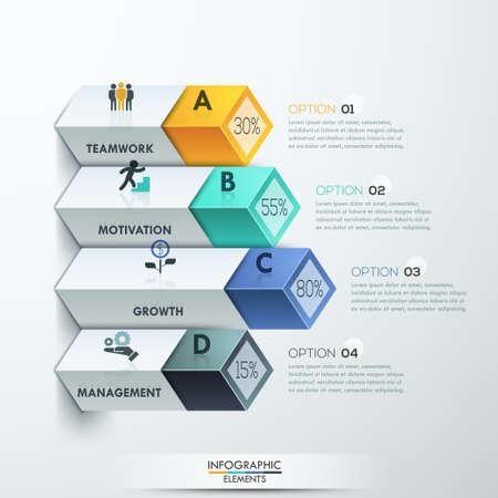 Résumé options infographies diagramme 3d. Vector illustration. peut être utilisé pour la mise en page flux de travail, bannière, les options numériques, intensifier les options, conception de sites Web.