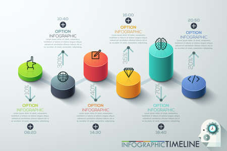 staircase: Modern business cylinder 3d style options banner. Vector. can be used for workflow layout, diagram, number options, step up options, web design, infographics, timeline. Illustration