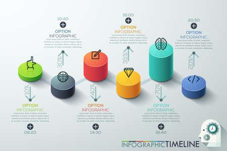 Moderna cilindro affari opzioni 3d stile bandiera. Vettore. può essere utilizzato per il layout del flusso di lavoro, diagramma, le opzioni di numero, intensificare le opzioni, web design, infografica, timeline.