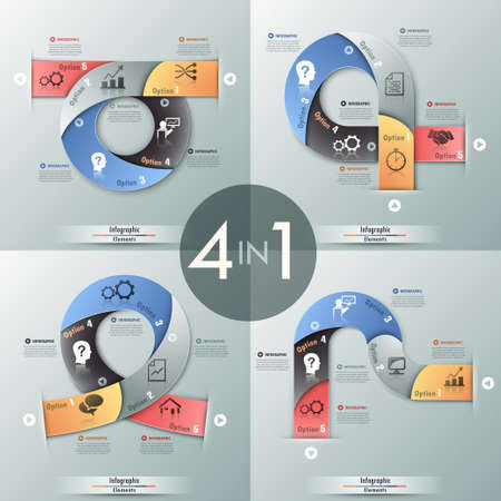 web template: Set of 4 modern infographics options banner with process template made of colorful ribbons. Vector. Can be used for web design and  workflow layout