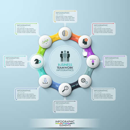 paper art projects: illustration infographic eight options cycle.