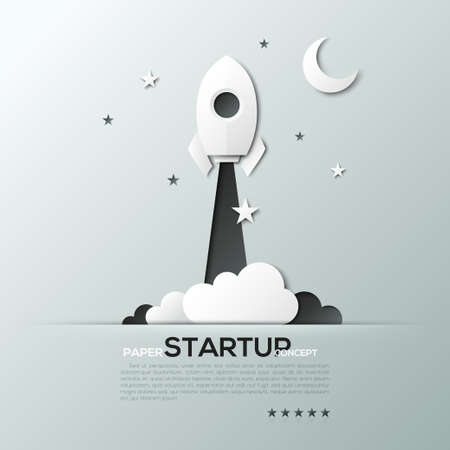 paper art projects: White paper startup rocket concept  illustration. Can be used for web design and workflow layout Illustration