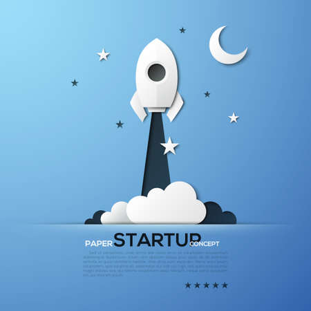 paper art projects: White paper startup rocket concept illustration. Can be used for web design and workflow layout