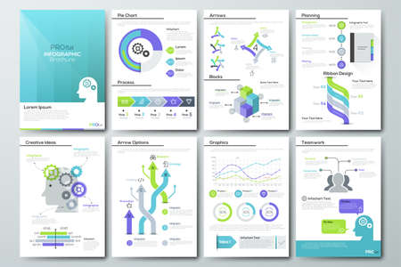 timelines: Data visualization brochures and infographic business templates. Use in website, corporate brochure, advertising and marketing. Pie charts, line graphs, bar graphs and timelines.