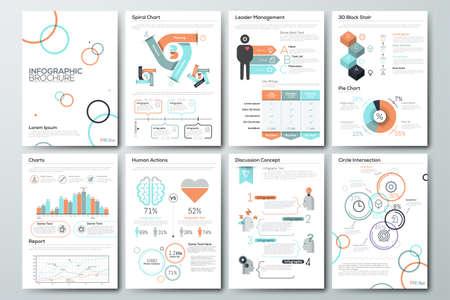 Data visualisatie brochures en infographic zakelijke sjablonen. Gebruik in de website, corporate brochure, reclame en marketing. Cirkeldiagrammen, lijn grafieken, staafdiagrammen en tijdlijnen.