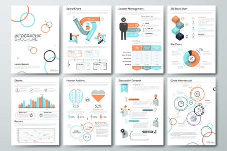 Data visualization brochures and infographic business templates. Use in website, corporate brochure, advertising and marketing. Pie charts, line graphs, bar graphs and timelines. Stock Vector - 62228196