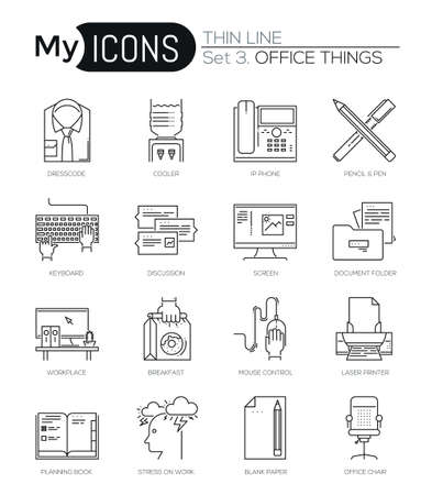 business equipment: Modern thin line icons set of basic business essential tools, office equipment. Premium quality outline symbol collection. Simple mono linear pictogram pack. Stroke vector logo concept for web graphic