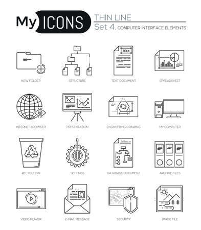 global settings: Modern thin line icons set of computer interface elements. Premium quality outline symbol collection. Simple mono linear pictogram pack. Stroke vector logo concept, web graphics