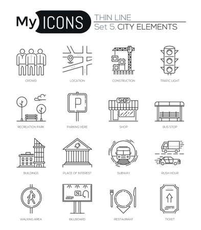 ricreazione: Icone di linee sottili moderna insieme di elementi della città. Collezione di simboli di qualità premium. Pacchetto pittogrammi lineari mono. Concetto del logo vettoriale a forma di colpo per la grafica web Vettoriali