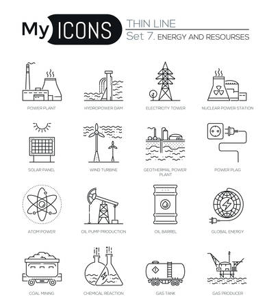 power industry: Modern thin line icons set of energy produsing industry, power plants, resources. Premium quality outline symbol collection. Simple mono linear pictogram pack. Stroke vector logo concept for web graphics. Illustration