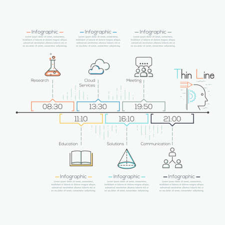 Thin Line Minimal Arrow Business Infographic Timeline Template