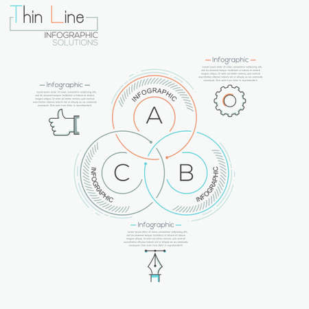 step up: Modern business circle intersection line style options banner. Vector illustration. can be used for workflow layout, diagram, number options, step up options, web design, infographics.