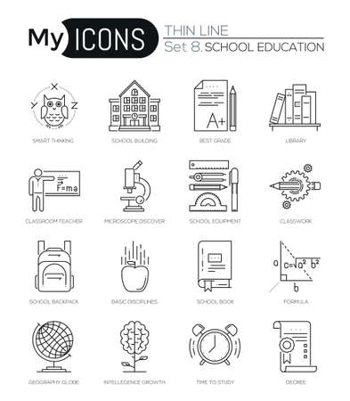 studies: Modern thin line icons set of school education essentials. Premium quality outline symbol collection. Simple mono linear pictogram pack. Stroke vector logo concept for web graphics.