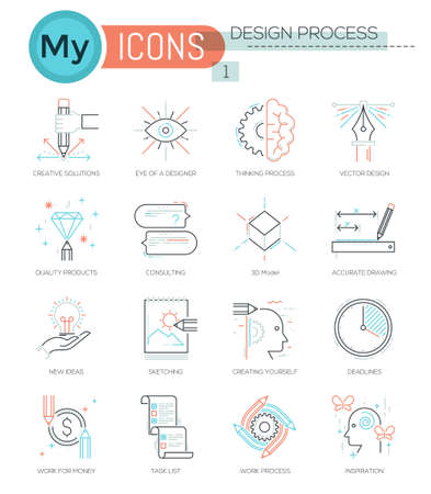 graphic art: Modern thin line icons set of designing, creative process. Premium quality outline symbol collection. Simple mono linear pictogram pack. Stroke vector logo concept for web graphics.