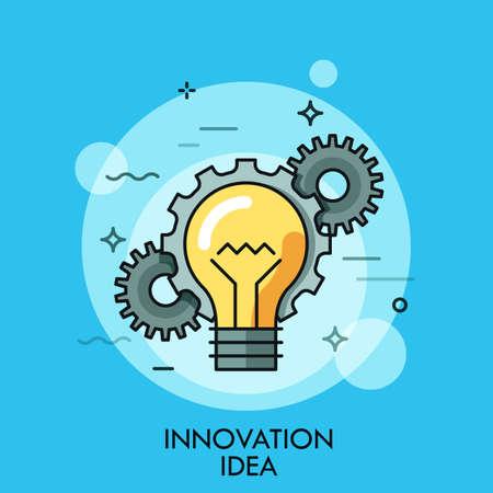Thin icône de la ligne avec plat élément de conception d'ampoule dans la chaîne avec des engrenages, solution humaine de succès, l'idée de l'innovation, eureka dans la résolution de problèmes. Moderne logo de style illustration vectorielle concept.