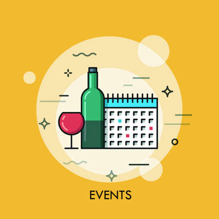 event planning: Thin line flat design banner for events web page, calendar, planning, marketing. Modern style logo vector illustration concept.