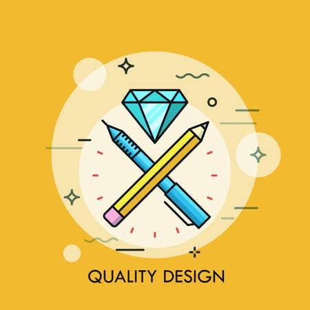 Pen, pen and dimond flat design thin line banner. Modern style logo vector illustration concept.