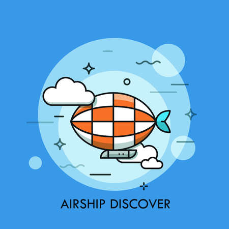 exploratory: Thin line icon with flat design element of horizon discoveries, inspiring dream, exploratory mission, traveling by airship, opening unknown. Modern style logo vector illustration concept.