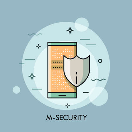 Shield and smartphone with lock screen, mobile security concept, payment protection, data encryption, information safety icon. Vector illustration in thin line style for website, banner, poster, blog. Illustration