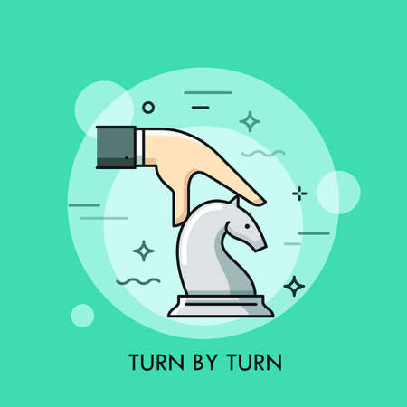 business game: Hand moving white knight chess piece. Turn by turn smart strategy business concept. Board game competition icon. Vector illustration in thin line style for website, banner, poster, advertisement.
