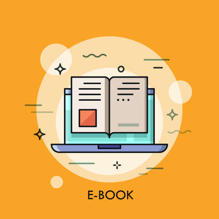 internet icon: Electronic book icon, digital reading concept, internet learning, e-book library, online magazine. Vector illustration in thin line style for website, banner, header, advertisement, presentation. Illustration