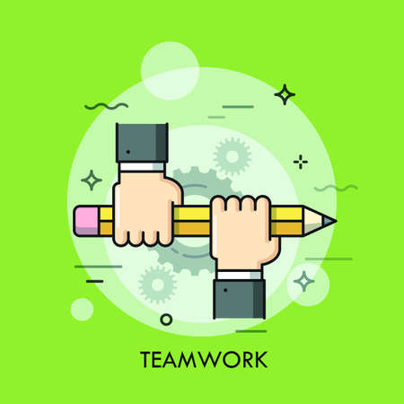 line work: Two people holding pencil together. Teamwork, business community support and corporate strategy concept, office work icon. Vector illustration in thin line style for advertisement, website, header. Illustration