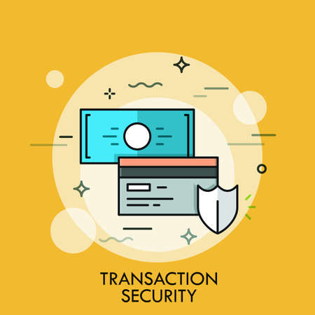 technology transaction: Shield, credit card and banknote. Transaction and payment security concept, money protection technology icon. Vector illustration in thin line style for website, banner, header, logo, banking service
