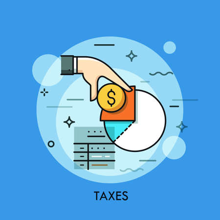 taxpayer: Tax form, hand holding dollar coin and income diagram. Budget planning, taxation and paying debt concept, financial document icon, accounting service logo. Vector illustration in thin line style.