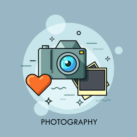 Photo camera, printed photos and heart. Photography lovers and favorite hobby concept. Photo service advertisement, logo. Vector illustration in thin line style for website, banner, header, promo. Illustration