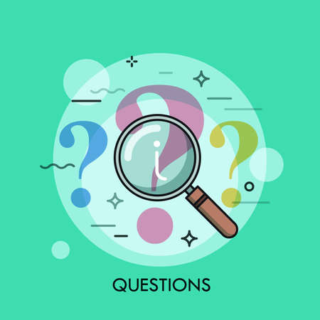 point d interrogation: Question mark under review with magnifying glass. Information search process, problem analyzing, answer finding and research concept, icon. Vector illustration in thin line style for website, banner.