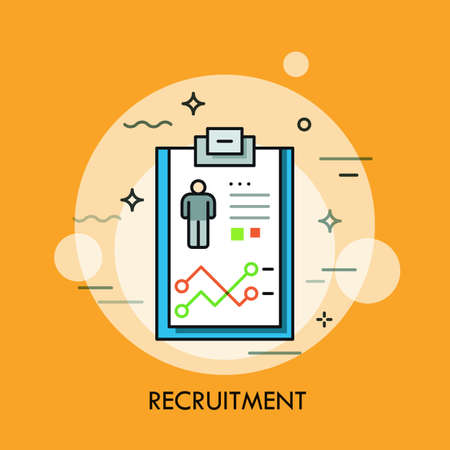 job opportunity: Recruitment, human resources and personnel selection concept, curriculum vitae icon. Job application process and career opportunity. Vector illustration in thin line style for website, banner, ad.