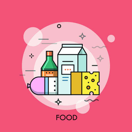 food products: Milk, sausage, cheese and sauce. Online grocery shopping and supermarket food delivery service concept, fresh market products icon. Vector illustration in thin line style for website, banner, badge.