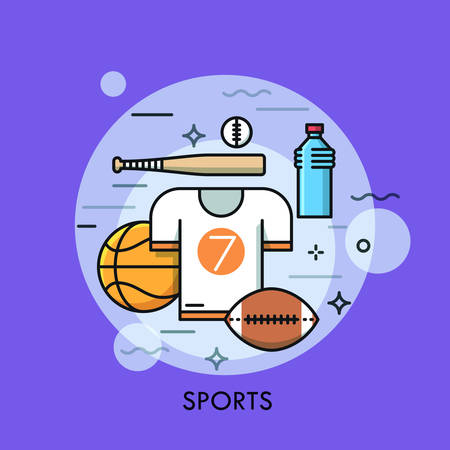 sporting equipment: Sports equipment for player, sporting goods and sportswear shop logo. Championship, tournament, competition concept. Vector illustration in thin line style for website, banner, poster, presentation.
