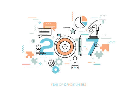 Infographic concept 2017 year of opportunities. Future trends and prospects in business challenges, strategies, international networking, communication. Vector illustration in thin line style.