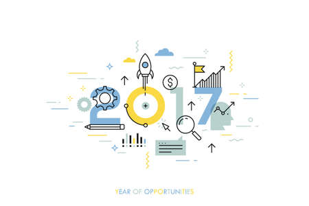 Infographic concept 2017 year of opportunities. New trends and prospects in startups, business development, profit growth strategies. Plans and expectations. Vector illustration in thin line style. Illustration