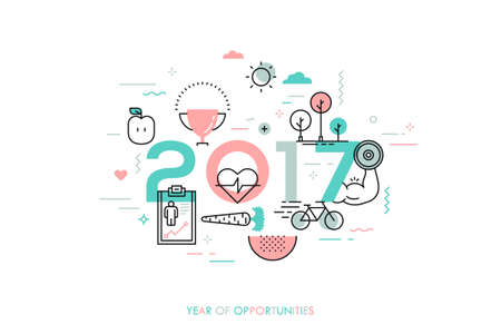 new medicine: Infographic banner 2017 year of opportunities. New trends and prospects in healthcare, sports, fitness, lifestyle, sport nutrition. Plans and predictions. Vector illustration in thin line style.
