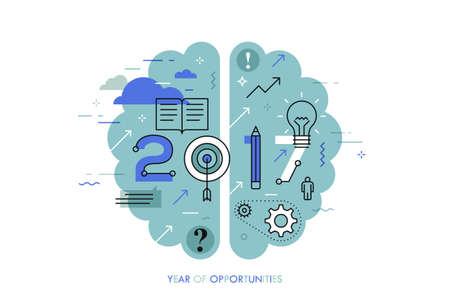 notion Infographic 2017 année d'opportunités. Les nouvelles tendances chaudes et les perspectives en matière d'éducation, l'apprentissage global, la génération d'idées, des techniques d'auto-amélioration. Vector illustration dans le style de ligne mince.