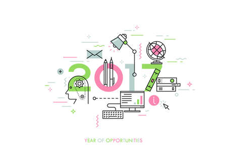internet education: Infographic banner 2017 year of opportunities. New trends and prospects in internet blogging, communication, networking, online education and e-learning. Vector illustration in thin line style. Illustration