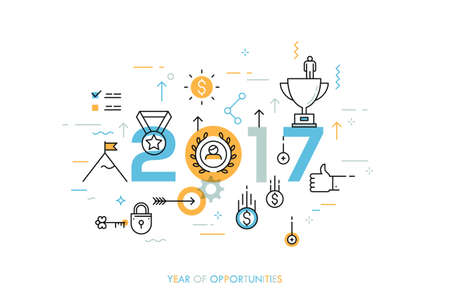 business trends: Infographic banner 2017 year of opportunities. New trends and prospects in leadership and successful business development strategies. Plans and expectations. Vector illustration in thin line style.