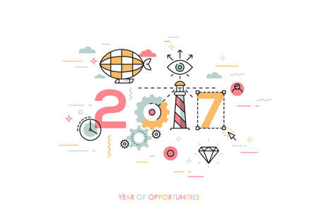 Infographic concept 2017 year of opportunities. Hot trends and perspectives in travel and adventure tourism industry, navigation tools, leisure activities. Vector illustration in thin line style. Illustration