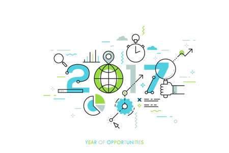 internet search: Infographic concept 2017 year of opportunities. New global trends and perspectives in online search, internet tools for business and project management. Vector illustration in thin line style.