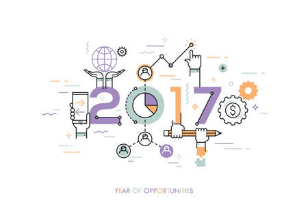 Infographic concept 2017 year of opportunities. New trends and prospects in global business communication, networking, teamwork strategies. Hopes and fears. Vector illustration in thin line style. Ilustração