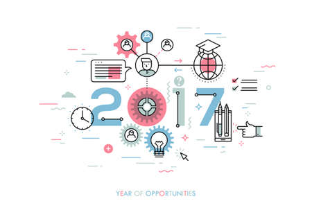 prospect: Infographic concept 2017 year of opportunities. New trends and prospects in international education, student exchange programs, online and distance learning. Vector illustration in thin line style.