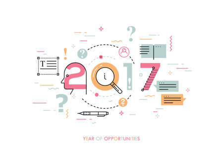 editor: Infographic concept 2017 year of opportunities. New trends and prospects in Copywriting, text editing applications and technologies, information search. Vector illustration in thin line style.